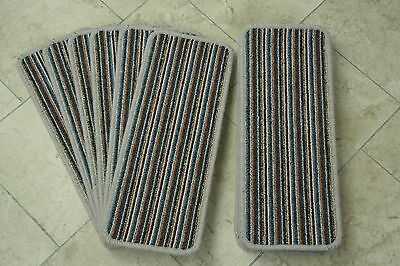 14 Blue Stripey Open Plan Carpet Stair Treads Fancy StripePads! 14 Large Pads