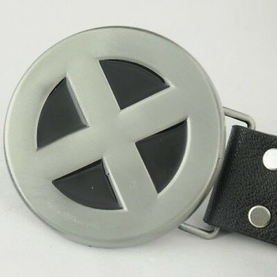 "Special Sliver Round X-MEN Superheroes ""X"" Costume Metal Leather Belt Buckle"