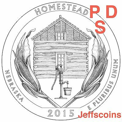 2015 P D S Homestead National Park QUARTER Nebraska New U.S. Mint State NF5 PDS