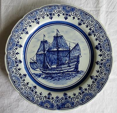 """Delfts Blue Sailing Ship  Scene 9"""" Wall Hanging  Plate Hand Painted"""