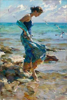 Modern Abstract Art Oil Painting on canvas--Girl at the beach(no framed)