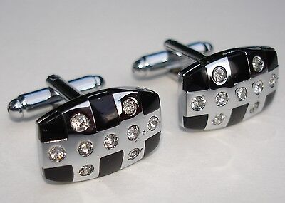 Large Silver Oblong Cufflinks Black Enamel & 9 Crystal Stones Groom Wedding Prom