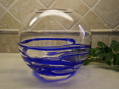 Hand Blown Glass Vase, Cobalt Blue Spiral Coil over Crystal -Unique Collectible!