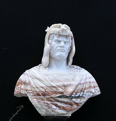 XL Italian Marble Bust Norse Warrior Carved Game Thrones Sculpture