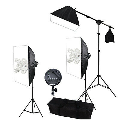 Pro Continuous Studio Lighting Kit Photography Softbox Video Boom Arm Soft Box