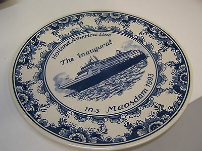 Delft MS Maasdam Inaugural Voyage Plate Holland-American Line 1993/Mint