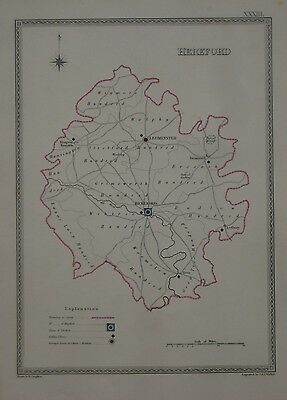 Original 1835 Shire Map HEREFORD England Leominster Ledbury Bromyard Ross Lewis