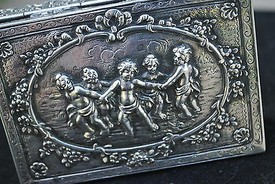 EARLY 1900 ANTIQUE GERMAN 800 SILVER WEDDING GIFT/JEWELRY BOX..150 GRAMS,