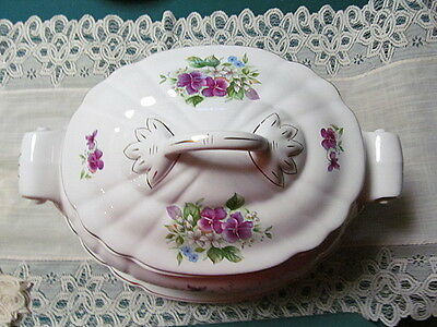 Loucarte Made In Portugal Covered Tureen with Underplate Floral Design Vintage
