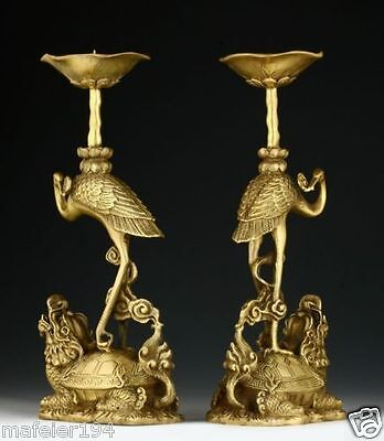 PAIR OF ORIENTAL CHINESE CARVED COPPER CANDLE OLD STICK-CRANE STATUES