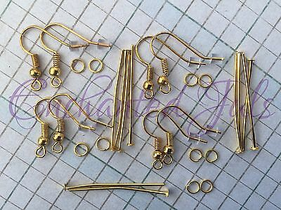 28 Pcs Makes 4 Pair Gold Plated Complete Earring Making Starter Or Repair Kit