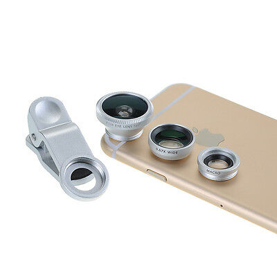 Clip on 180° Supreme Fish-Eye + Wide Angle + Micro Lens Camera Lens Kits Silver