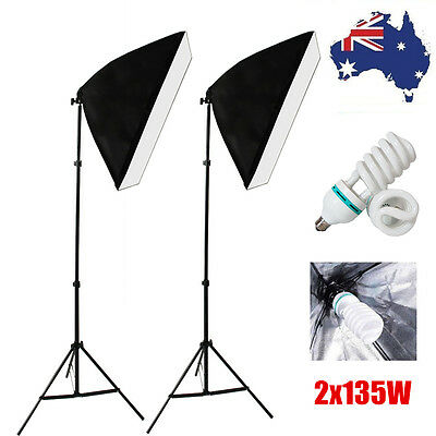 Pro Photography 135W Softbox Studio Continuous Video Stand Lighting Light Kit AU