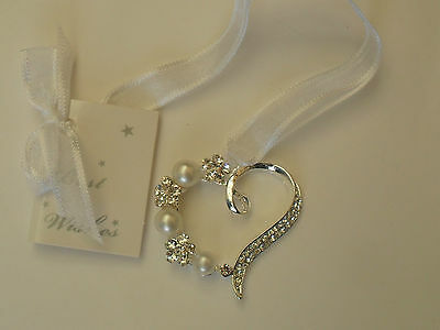 Silver Diamante Heart Large Pearl Wedding Good Luck Charm Horseshoe Bridal