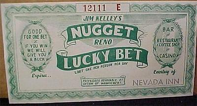 NUGGET-RENO FREE PLAY LUCKY BET COUPON  4492C
