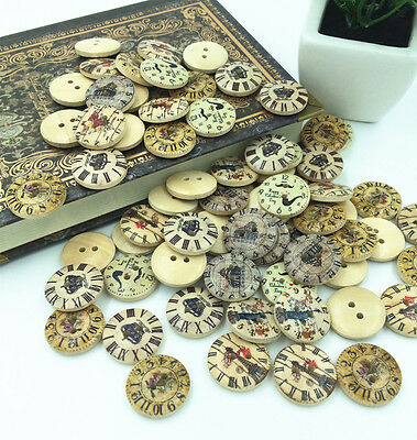 Free 2 Holes Mixed clock pattern Wooden Buttons Fit Sewing and Scrapbook 20mm