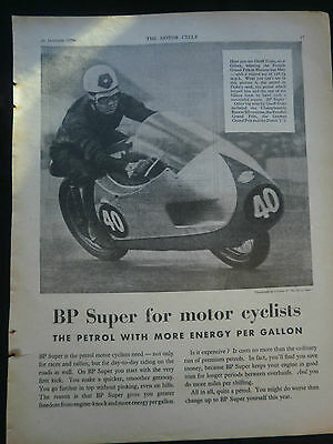 Gilera / Geoff Duke / B.p Petrol - Original Motorcycle Advert From 26/01/1956