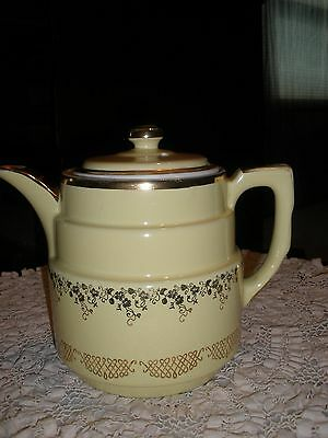 HALL Canary Yellow Gold Fillagree Accented Coffee Server Pot