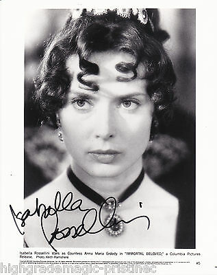 """Isabella Rossellini Autographed Signed 8X10 B&w Promo Photo """"immortal Beloved"""""""