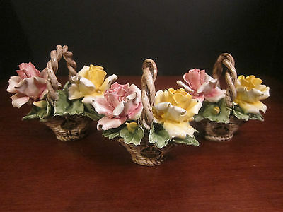 Vintage Nuova Capodimonte Basket of Roses – Set of Three - Pink and Yellow