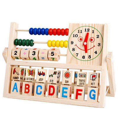 Baby Kids Children Early Learning Educational Versatile Flap Abacus Wooden Toys