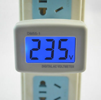AC 110-300V Blue LCD Digital Voltage Volt Meter US Style Plug 110V 220V Hotsale