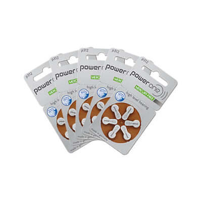 Power One Hearing Aid Batteries Size 312 (QTY 30) Zinc Air