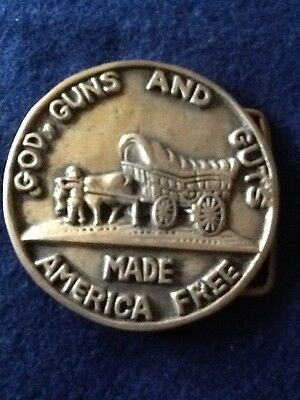 God, Guns And Guts Made America Free Belt Buckle - Solid Brass. Vintage. Round.