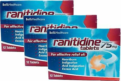 Ranitidine 75mg Tablets 12 Pack X3 (36 Tablets) For Heartburn & Indigestion