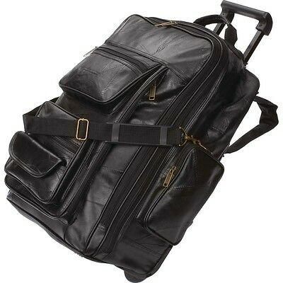 Black Leather Rolling Trolley Suitcase Overnight Bag Mens Carry-On Backpack  21""