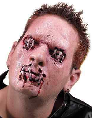Stitched Eyes Mouth Shut Fancy Dress Halloween Costume Makeup Latex Prosthetic