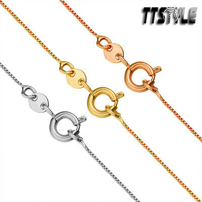 TTstyle Gold Filled Box Chain Necklace Round Clip Choose Length&Chain Width NEW