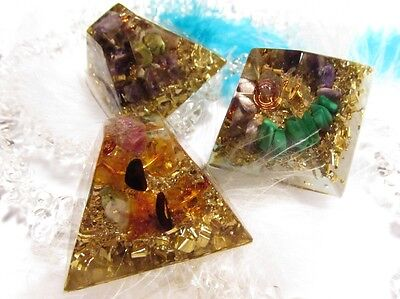 Three WISHES - set of 3 orgonits - Healing and Balancing - Protection, love