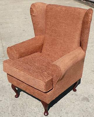 Arm Chair/ Wing Back Chair/ Fireside Chair In A Terracotta Fabric