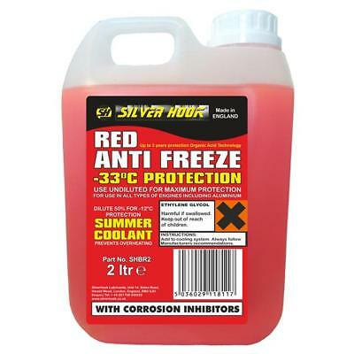 Silverhook Ready Mixed Red OAT Antifreeze Protects To -33°C - 2 Litre [SHBR2]...