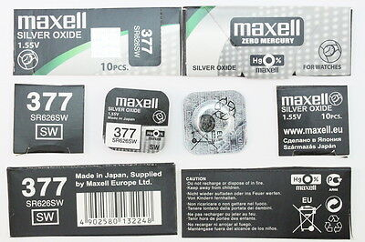 1x Maxell Uhren Batterie 377-626-SR626SW Knopfzelle Silver Oxide Made in Japan