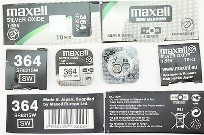 1x Maxell Uhren Batterie 364-621-SR621 SW Knopfzelle Silver Oxide Made in Japan