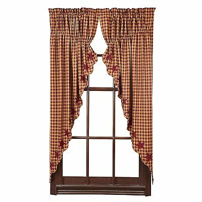 BURGUNDY STAR Scalloped Prairie Curtain Set Rustic Primitive Applique Khaki