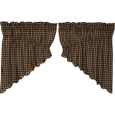 BLACK CHECK Scalloped Prairie Swag Set Rustic Primitive Khaki Country Lined VHC
