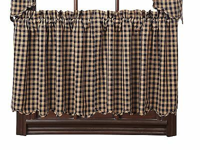 "NAVY CHECK Scalloped Tier Set Rustic Khaki Plaid Primitive Cafe Curtains 24"" VHC"
