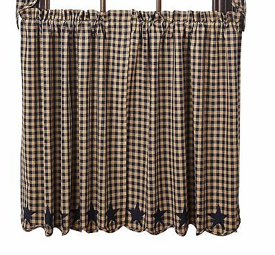 "NAVY STAR Scalloped Tier Set Rustic Plaid Khaki Applique Cafe Curtains 36"" VHC"