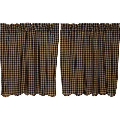 BLACK CHECK Scalloped Tier Set Rustic Plaid Khaki Country Cafe Curtains 36""