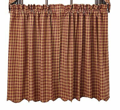 BURGUNDY CHECK Scalloped Tier Set Rustic Plaid Khaki Country Cafe Curtains 36""