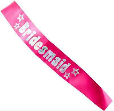 Bridesmaid Pink Hen Night | Party Sash with Silver Text & Stars 1-5pk