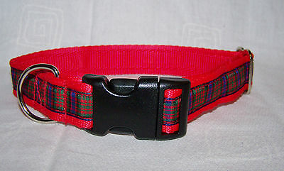 macdonald scottish red tartan dog collar or lead or complete set