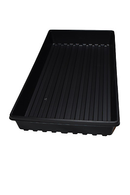 Set of 5 SOLID BOTTOM GROW TRAYS (1020) Black Plastic FLATS-PLANTS SEED STARTING