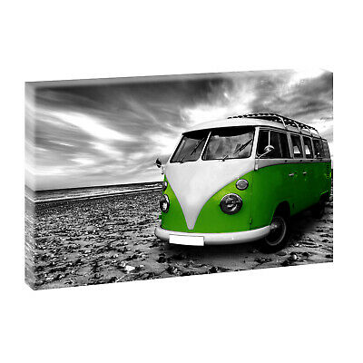 vw bulli sw mit rot bilder keilrahmen poster leinwand xxl 100 cm 65 cm 515 eur 28 50. Black Bedroom Furniture Sets. Home Design Ideas