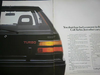 MITSUBISHI COLT TURBO - 2 page COLOUR ADVERT