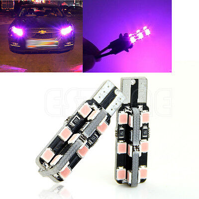 2pcs Car Auto 24 LED SMD 2835 LED T10 W5W Wedge Side Light Bulb Lamp Pink Purple