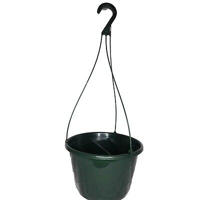 set of 5 - 10 inch GREEN plastic CONTEMPO SWIRL  hanging baskets flower pots